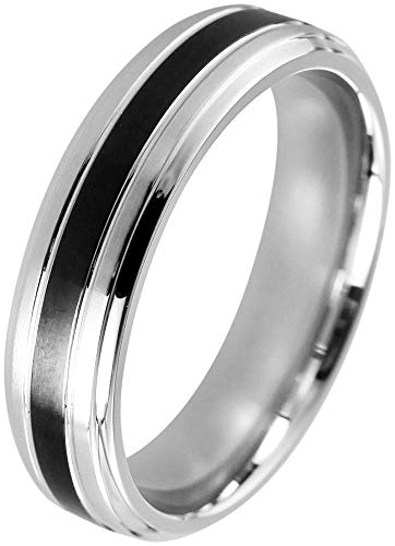 Akzent Herren-Ring aus Edelstahl Größe 68 Silberfarben Schwarz