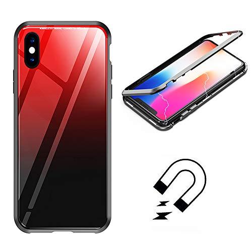 SevenPanda Newest Aurora Bunt Back Magnetischer Adsorptionskasten für iPhone 7 8 4.7 Zoll, Gehärtetes Glas Zurück [Metallrahmen] Voller Körper Slim Fit Ultra-Thin Leicht Case - Rot + Schwarz