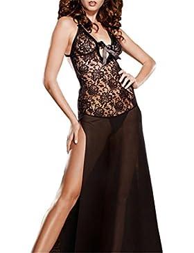 Befox Lencería para la noche de las mujeres de desgaste Deep-V vestido de cuello Transpant vestido de correa de...