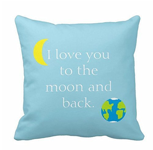 Indoor/Outdoor Decor Throw Pillowcase Cushion Cover I Love You to The Moon and Back !! Sofa Couch Pillows Case 18x18 Pillows Cases Protector Covers