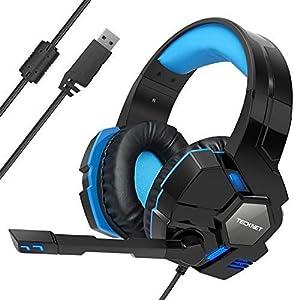 TeckNet 7.1 Channel Surround Sound PC Computer Over-Ear Kopfhörer blau