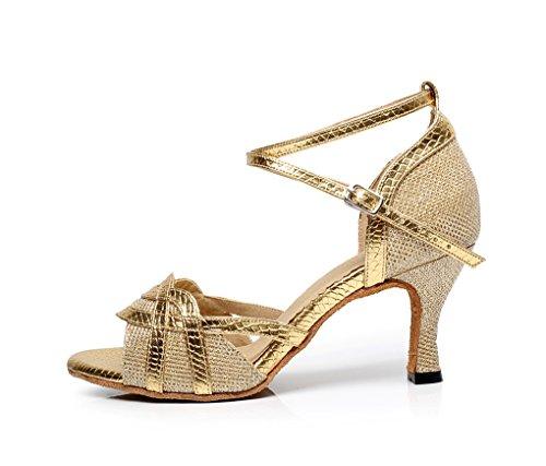 Minitoo QJ7027 femmes Flare talon à Paillettes élégant Latin Chaussures de danse Or - doré