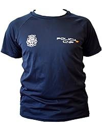 CNP Camiseta policia Nacional Tejido Tecnico para Entrenamiento oposiciones, Color Azul Marino con Bandera de
