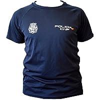 CNP camiseta policia nacional tejido tecnico para entrenamiento oposiciones, color azul marino con bandera de españa, disponible en varias tallas (L)