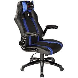 Mars Gaming MGC2BBL - Professioneller Gaming-Stuhl mit Rollen (Neigung und Höhe verstellbar, 15 Grad Neigung, gepolsterte Kopfstütze, klappbare und gepolsterte Armlehnen, ergonomisch), blau