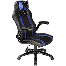 Mars Gaming MGC2BBL - Silla gaming profesional con ruedas (inclinación y altura regulables, inclinación 15 grados, reposacabezas acolchado, reposabrazos abatibles y acolchados, ergonómica), azul