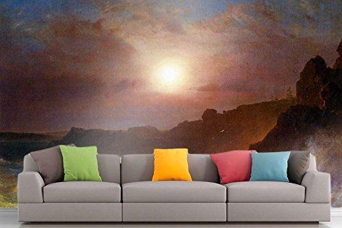 Roshni Arts®-kuratierte Art Wall Mural-Coast Szene, Mount Desert von Frederick Edwin Church | selbstklebend Vinyl Ausstattung Décor Art Wand-243,8x 182,9cm