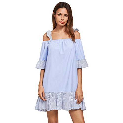 jaminy Women sexy cute off Schulter Streifen lace-up Schrägstrich lockere Mini Kleid (Gemütliche Fledermaus Kostüme Kleid Kind)