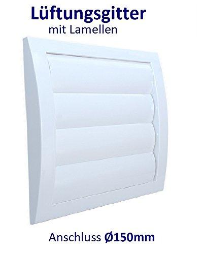 Lüftungsgitter mit beweglichen Lamellen Jalousie Abschlussgitter Rückstauklappe Verschlussklappe. ABS-Kunststoff. VCD. (Anschluss Ø150mm, Weiß)