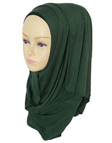 Trada Muslim Hut, Muslimische Frauen Ramadan Reine Farbe Schal Schal Kopf Abdeckung Kopftuch Schalldämpfer Elegante Stretch Turban Cap Haarausfall Kopftuch Wrap Einfarbig Hut (Armeegrün)