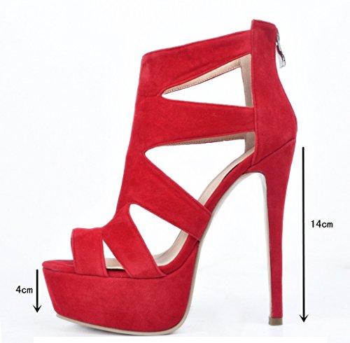 Kolnoo , chaussures compensées femme Rouge