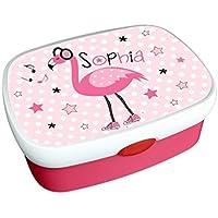 Kindergarten Brotdose mit Name, Mädchen, Flamingo, Geschenk zur Einschulung, zum Geburtstag, zu Weihnachten oder zu anderen Gelegenheiten. Brotzeitdose, Vesperdose, Vesperbox, ginidesign