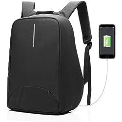 Coolbell Mochila antirrobo para portátil Puerta de carga USB/mochila para Estudiantes ligero y funcional Bolsa para el trabajo/mochila impermeable para hombres/mujeres/adolescenti negro Negro 15,6 Pollici