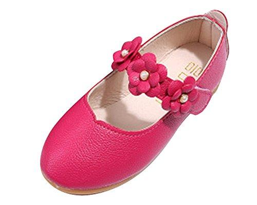 Qitun Mädchen Blumen Kid Anti-Rutsch Schuhe Prinzessin Solid Alle Match Casual Schuhe Tanzschuhe Rot EU 29/Fußlänge:18CM