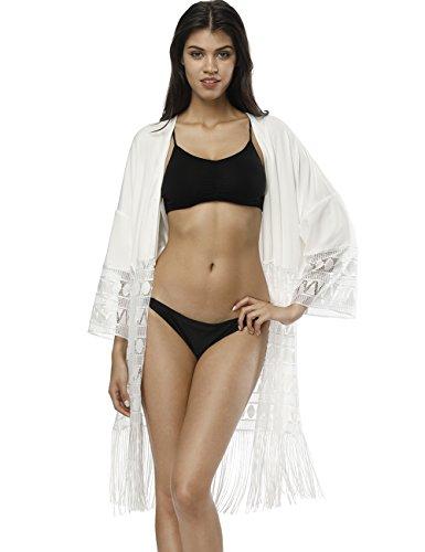 Queenromen Damen Langarm Quaste Mesh Sheer Durchsichtig Patchwork Cardigans Schwimmen Beach Bikini Vertuschen Leichte Kimono Open Front Tops Weiß L