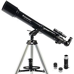 Celestron PowerSeeker AZ - Telescopio astronómico (70 mm de apertura, 700 mm de distancia focal, f/10 de relación focal) color negro y blanco