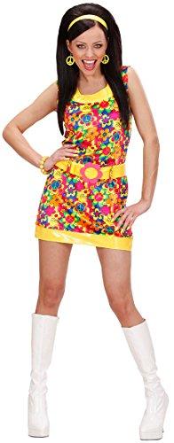 KULTFAKTOR GmbH 70er Disco-Kleid Damenkostüm Hippie gelb-bunt M