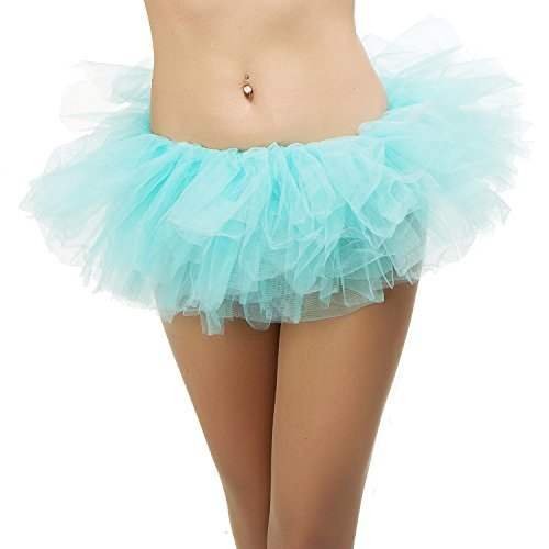 Tutu Ballet Skirt (One Size Fits All) with 5 Layers of Tulle & Satin Lined Waistband Miniskirt Tutu for All Women (Aqua - Halloween Blau Tutu Hell