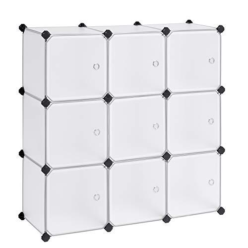 Songmics scaffale portaoggetti modulare fai da te con 9 cubi, mobile in plastica di qualità, guardaroba, con ante bianche, stabile e facile da montare lpc116ws