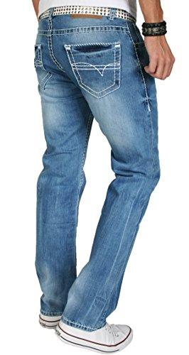 A. Salvarini Herren Designer Jeans Hose dicke weiße Nähte 06 Hellblau