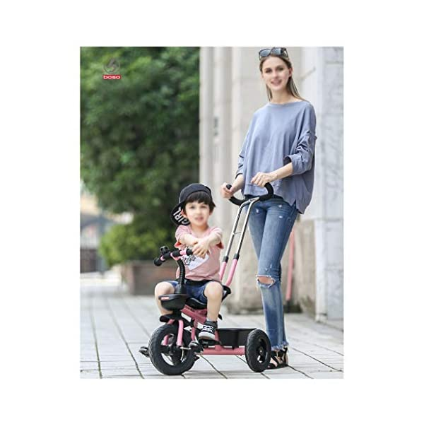 Baby Kids Children Toddler Detachable Tricycle Ride on Pedal Trike Bike 3 Wheels Bike 2-5 Years (Color : Light Green) DUOER-Pushchairs Material: Aluminum +ABS+Inflatable Titanium Wheel. Suitable for children 2-5 years old, Maximum Load 25kg. The Push Rod can be adjusted Three Height, need not install Steering Rod, also can let Mother adjust to suit Height. 7