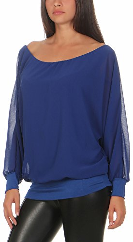 malito Damen Chiffon langarm Bluse | Tunika mit weiten Ärmeln | Blusenshirt mit breitem Bund | elegant