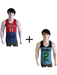 Vp Men's Combo Pack Of 2 Numeric Printed Cotton Vest - B07FLGQ88R