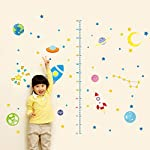 Wallpark Cartoon Space Universe Rocket Stars Moon Height Sticker, Growth Height Chart Measuring Removable Wall Decal, Children Kids Baby Home Room Nursery DIY Decorative Adhesive Art Wall Mural