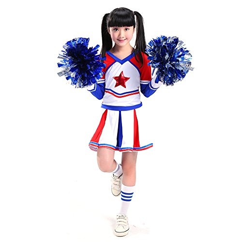 rleader Kostüm Uniform Karneval Fasching Party Halloween Weihnachten Kostüm Kleid Cheerleading Jazz Bekleidung mit 2 Pompoms Socks (Mädchen) 110 (Cheerleader Kostüm Kind)