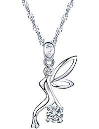 Yumi Lok Hada Plata de ley 925con Circonita diseño único ángel colgante collar cadena con colgante para mujer Chica