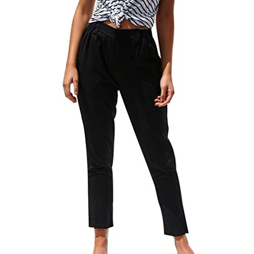 WOZOW Damen Trousers Solid Straight Leg Elastisch Elastic Pleasted Bettwäsche Baumwolle Soft Bequem Casual High Waist Slim Lang Long Ankle Crop Trouser (S,Schwarz)