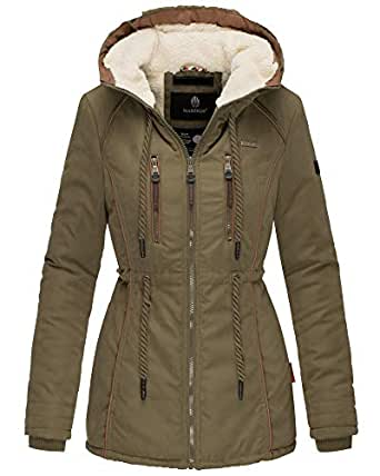 Marikoo Damen Winter Jacke Parka Kurz Mantel Kordel Kapuze Teddyfell Maig31