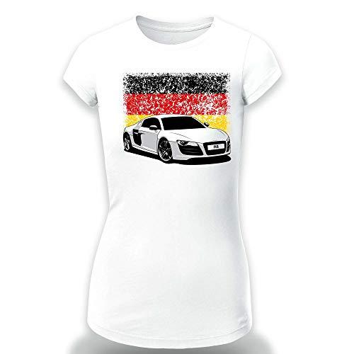 R8 German Flag Logo T-Shirt Clipart Women CAR Logo Auto Tee TOP White Long Sleeves Short Sleeves (XL, White - Short) -