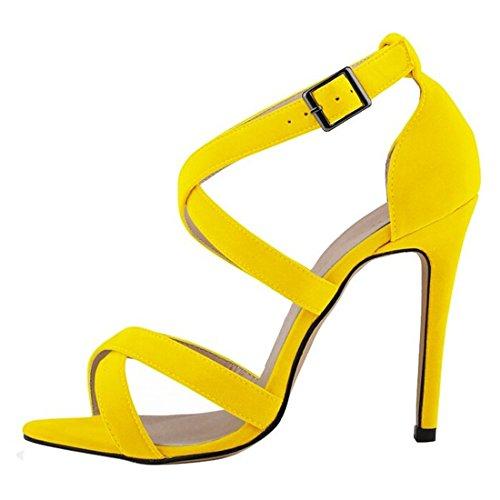Oasap Damen Elegant Knöchelriemen Pfennigsabsätzen Sandalen Yellow