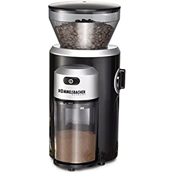 ROMMELSBACHER EKM 300 elektrische Kaffeemühle mit Kegelmahlwerk aus Edelstahl (12 Stufen-Mahlgrad, 2-10 Tassen, Kaffeepulver schonend mahlen, 150 W) schwarz,silber