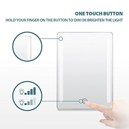 Jerrybox Schminkspiegel mit Beleuchtung Beleuchteter Kosmetikspiegel LED Make up Spiegel Faltbarer Standspiegel Tischspiegel, 180° Einstellbar, Dimmbar, Kompakt, Perfektes Geschenk für Frauen, Weiß - 3