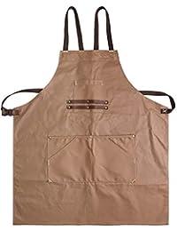 Herramienta delantal, artesano retro lona delantal impermeable multi-herramienta de cuero bolsillo correa de