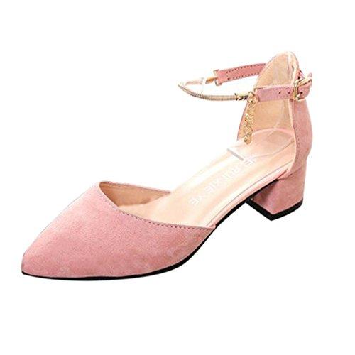 Frühling Sommer Sandalen Damen, DoraMe Frauen High Heels Hochzeit Schuhe Plattform Keil Schuhe Mode Freizeit Pumps Elegant Party Einzelne Schuhe (35, Rosa) (Beige Leder-plattform)