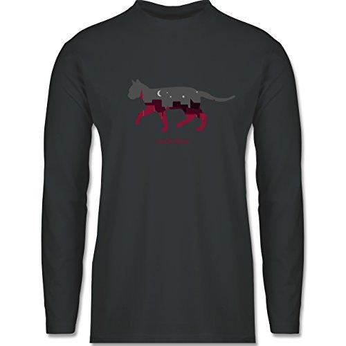 Katzen - Großstadtkatze - Longsleeve / langärmeliges T-Shirt für Herren Anthrazit