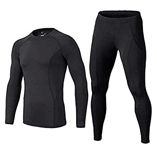 BUYKUD Men's Long Sleeve Base Layer Compression Athletic Underwear Shirt Tights Top & Bottom Set 15