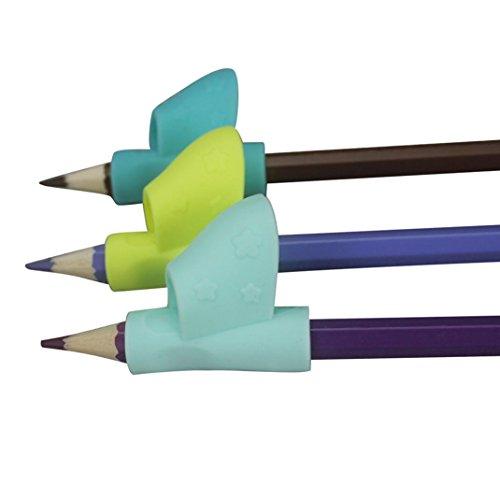 Bleistift Griffe,Silikon Stift Griffe Griffhalter Bleistift Grips Stiftehalter Pack Ergonomische Schreibhilfe für Rechtshänder und Linkshänder zufällige Farben (Style E (3 Pcs)) -