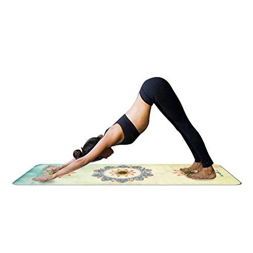 YISHU Mandala Yogamatte mit Tragetasche 1,5 mm dünn weich leicht faltbar Rutschfest aus Naturkautschuk Travel Fitness Gymnastik Outdoor Sport 180 x 68 cm Muster-E