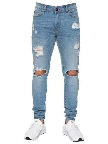 Enzo NEU DESIGNER HERREN Super Enge Stretch-Jeans zerschlissene Jeans Hosen - Blau, 40W / - Jeans Zerschlissene