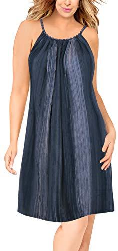 LA LEELA Rayon Bestickt tie dye Kaftan beiläufige Badebekleidung Vertuschung Kleid blau Frauen