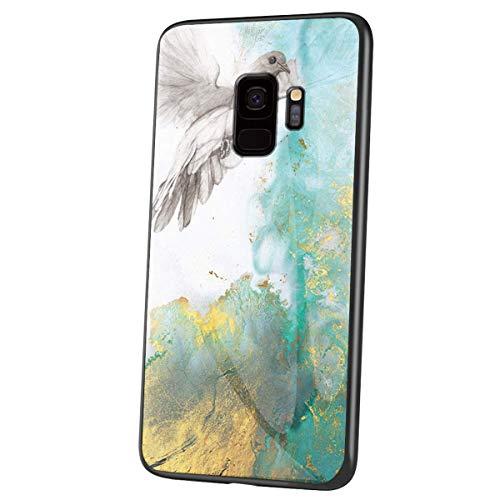 Herbests Kompatibel mit Samsung Galaxy S9 Hülle Gehärtetes Glas Rückseite + Silikon Bumper Handyhülle Marmor Muster Kratzfeste Hardcase Schutzhülle Stoßfest Hybrid Hülle,Grün Gold