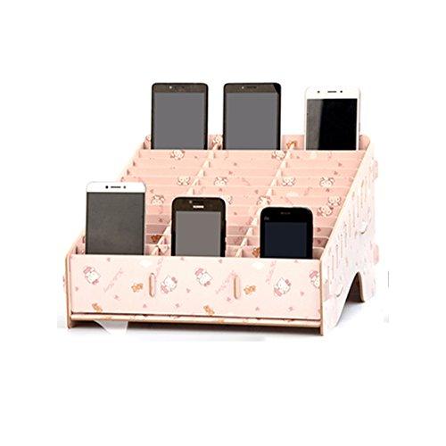 bewahrungsbox Aus Holz Kreative Desktop-Office-Meeting-Veranstalter Klassenzimmer Visitenkarte Multi-Handy-Halter(Ahorn, Kirschholz, Schwarz KT Katze) ()