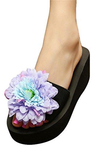 Good Night Pantoufles de sandales de plage de ruban élastique de plate-forme avec la grande fleur Violet