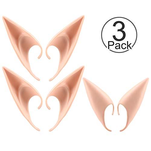 PAMIYO 3 Paar Elfenohren Spitzohren Latex Ohren Elfenohren Für Pixie Cosplay Halloween Karneval Fasching Party Kostüm-Natürliche Farbe