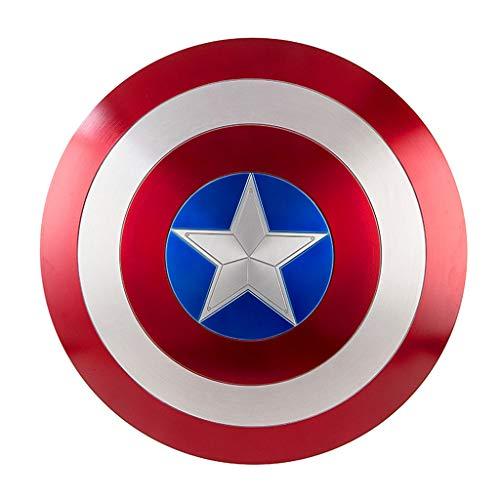 Captain Material Avengers Kostüm America - QWEASZER Marvel Avengers 1: 1 Captain America Schild Handbemalter Metallschild Captain America Kostüm Metallschild Erwachsene Einheitsgröße 1: 1 Filmrequisiten,A-60cm