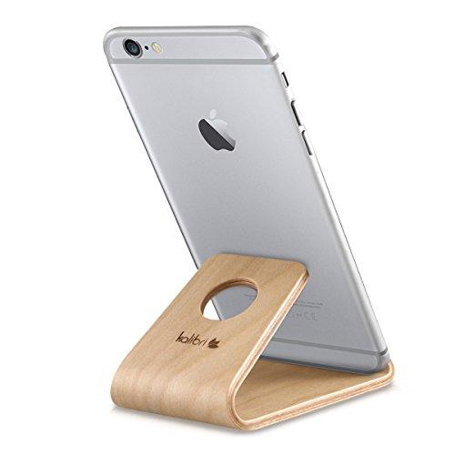 kalibri Handy Halterung Smartphone Ständer - Universal Halter kompatibel/Ersatz für iPhone Samsung iPad Tablet u.a. - Tisch Stand Dock in Birken-Holz Hellbraun